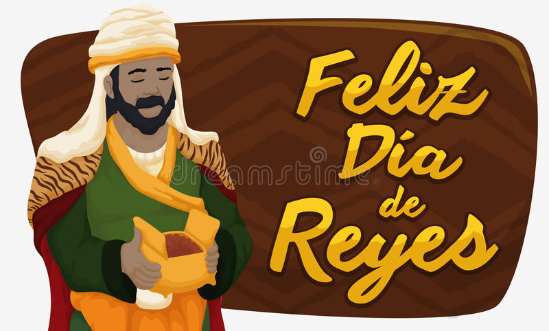 Balthazar Magi avec Myrrh Celebrating Epiphany ou DÃa de Reyes, illustration de vecteur illustration stock
