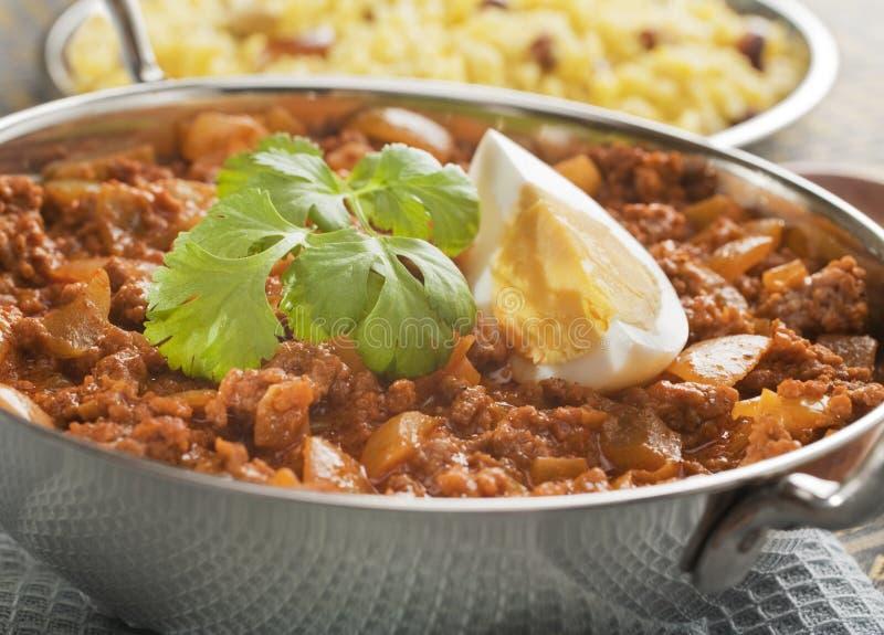 Balti Keema Curry und Reis stockfotos