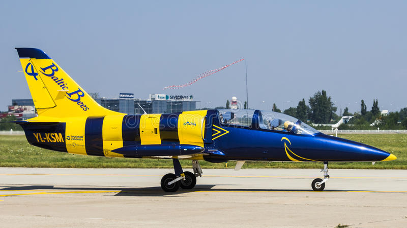 Baltic Bees 4 - L-39 C Albatros. Anatoly Perekriostov - Ready for Flight at Bucharest International Air Show 2013 stock photos