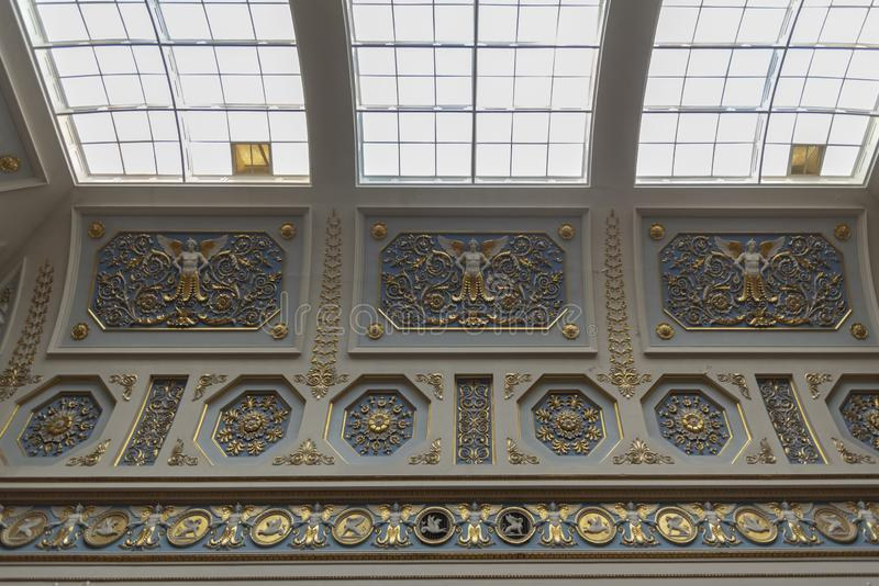 Ceiling detail and skylight in The Hermitage St Petersburg Russia. 