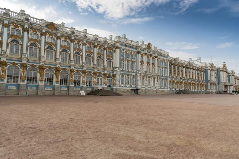 Frontage of Catherine Palace St Petersburg Russia. Baroque 18th-century palace with large grounds where Russian royal family spent their summers stock images