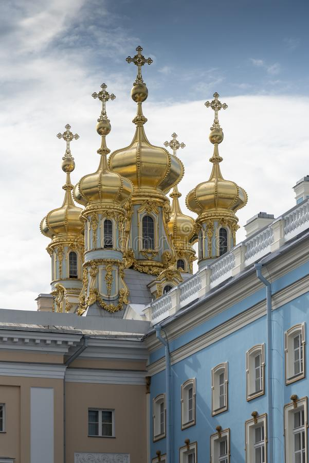 Detail of the domes of Catherine Palace St Petersburg Russia. Baroque 18th-century palace with large grounds where Russian royal family spent their summers stock photo