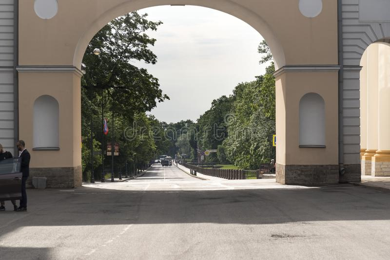 Arched gate entrance into Catherine Palace St Petersburg Russia. Baroque 18th-century palace with large grounds where Russian royal family spent their summers stock photo