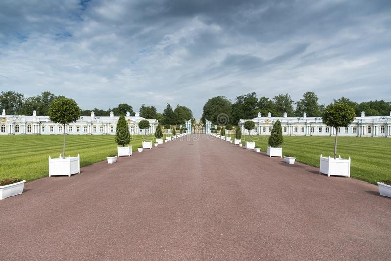 Grounds and Gateway in Catherine Palace St Petersburg Russia. Baroque 18th-century palace with large grounds where Russian royal family spent their summers royalty free stock image