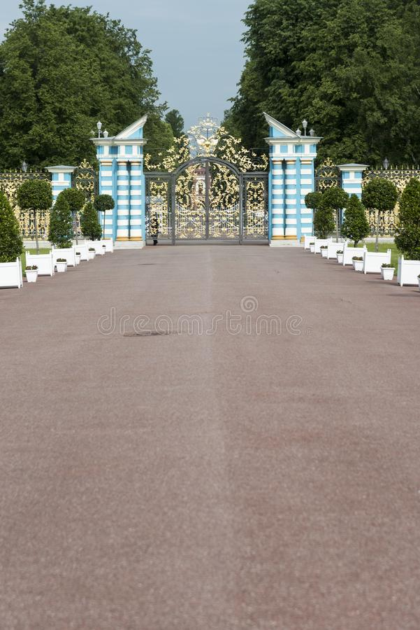 Gateway in Catherine Palace St Petersburg Russia. Baroque 18th-century palace with large grounds where Russian royal family spent their summers royalty free stock photography