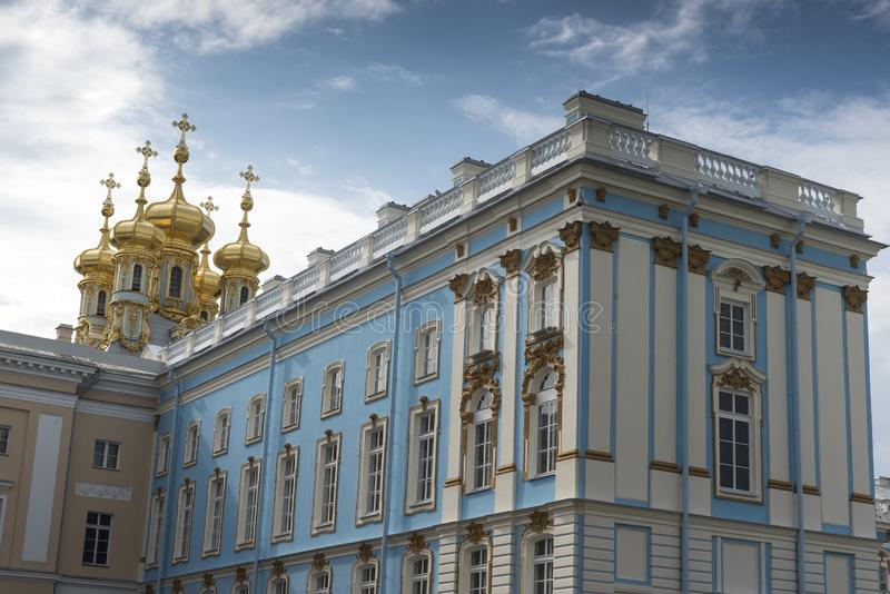 Frontage of Catherine Palace St Petersburg Russia. Baroque 18th-century palace with large grounds where Russian royal family spent their summers royalty free stock photography