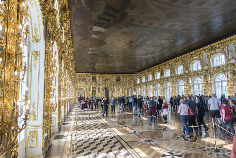 Ballroom in Catherine Palace St Petersburg Russia. Baroque 18th-century palace with large grounds where Russian royal family spent their summers stock photo