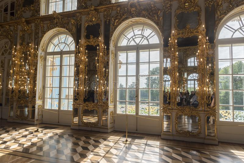 Ballroom in Catherine Palace St Petersburg Russia. Baroque 18th-century palace with large grounds where Russian royal family spent their summers stock image