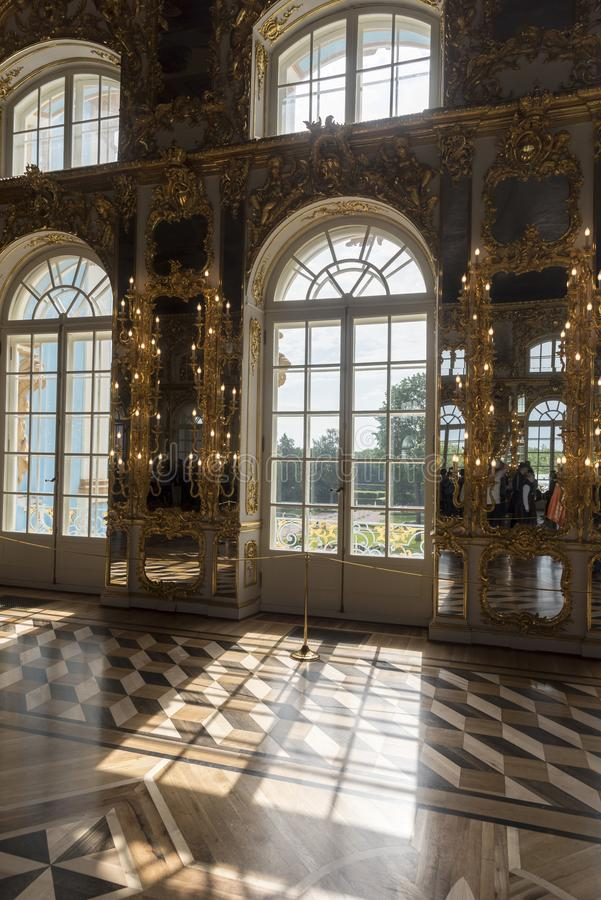 Ballroom in Catherine Palace St Petersburg Russia. Baroque 18th-century palace with large grounds where Russian royal family spent their summers royalty free stock image