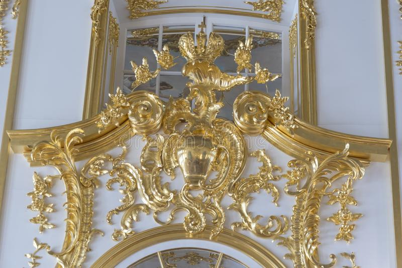 Doorway detail in Catherine Palace St Petersburg Russia. Baroque 18th-century palace with large grounds where Russian royal family spent their summers stock images