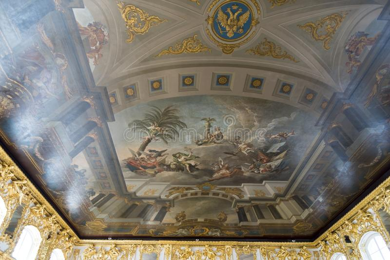 Ceiling painting in Catherine Palace St Petersburg Russia. Baroque 18th-century palace with large grounds where Russian royal family spent their summers royalty free stock images
