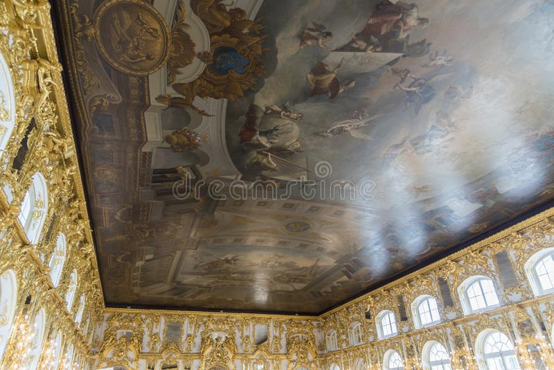 Ceiling painting in Catherine Palace St Petersburg Russia. Baroque 18th-century palace with large grounds where Russian royal family spent their summers royalty free stock photo