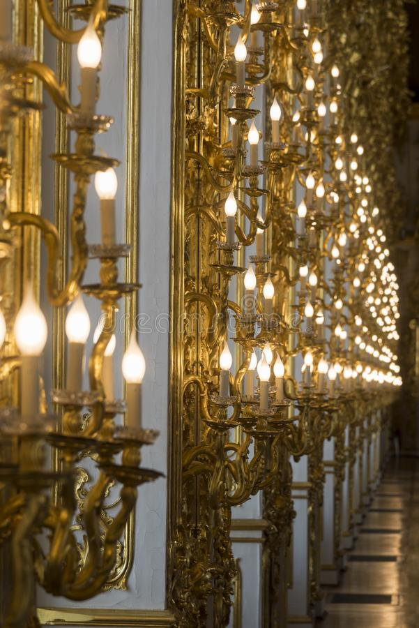 Ballroom lights in Catherine Palace St Petersburg Russia. Baroque 18th-century palace with large grounds where Russian royal family spent their summers royalty free stock photos