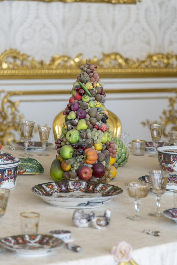 Table decoration in Catherine Palace St Petersburg Russia. Baroque 18th-century palace with large grounds where Russian royal family spent their summers royalty free stock image