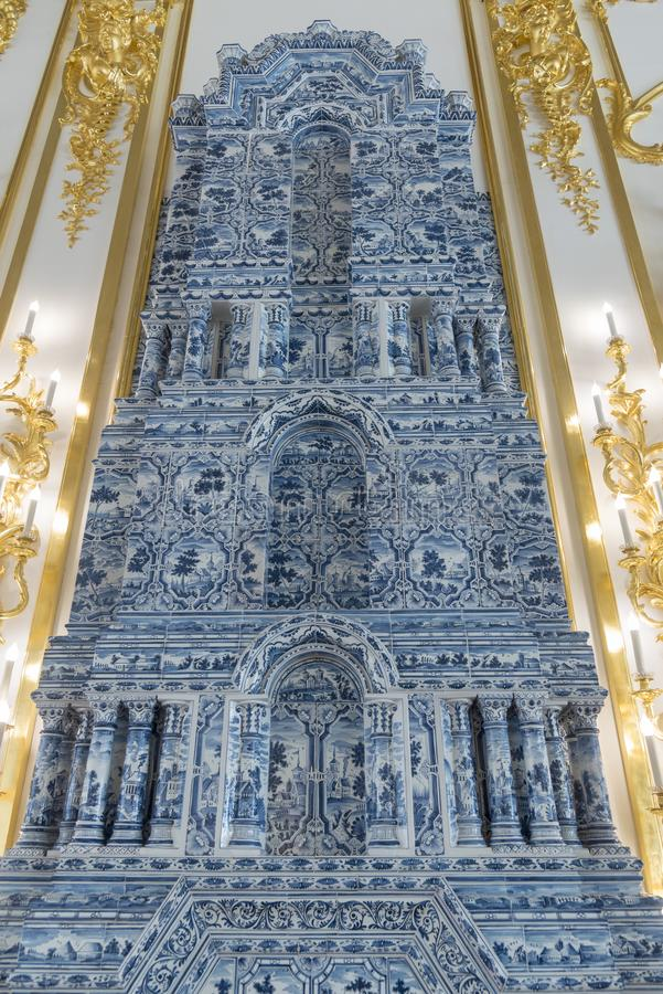 Delft tiled stove in Catherine Palace St Petersburg Russia. Baroque 18th-century palace with large grounds where Russian royal family spent their summers royalty free stock photography