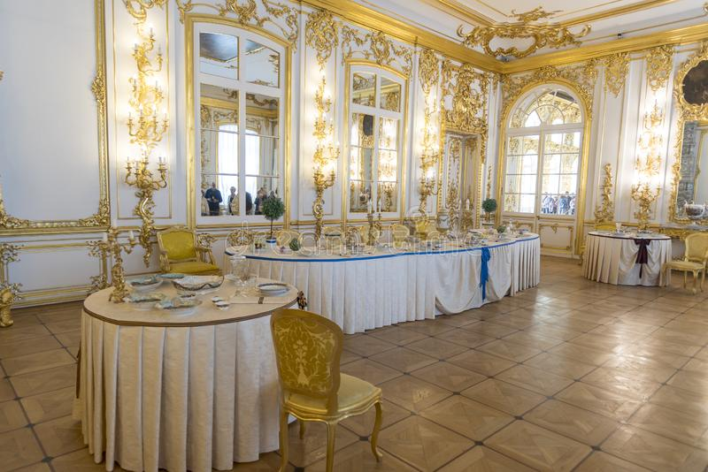 Dining Room in Catherine Palace St Petersburg Russia. Baroque 18th-century palace with large grounds where Russian royal family spent their summers royalty free stock images