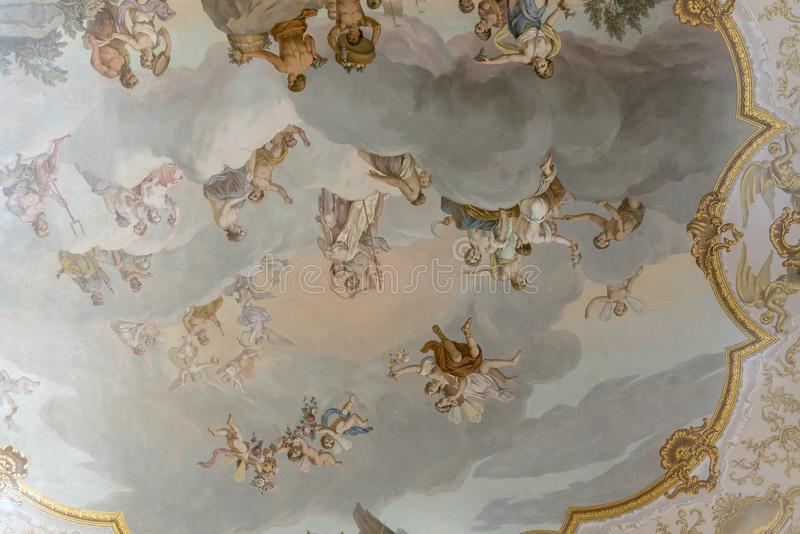 Ceiling painting in Catherine Palace St Petersburg Russia. Baroque 18th-century palace with large grounds where Russian royal family spent their summers stock photo