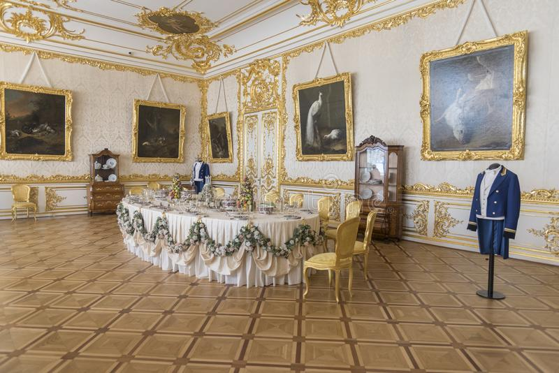 Dining Room in Catherine Palace St Petersburg Russia. Baroque 18th-century palace with large grounds where Russian royal family spent their summers royalty free stock image