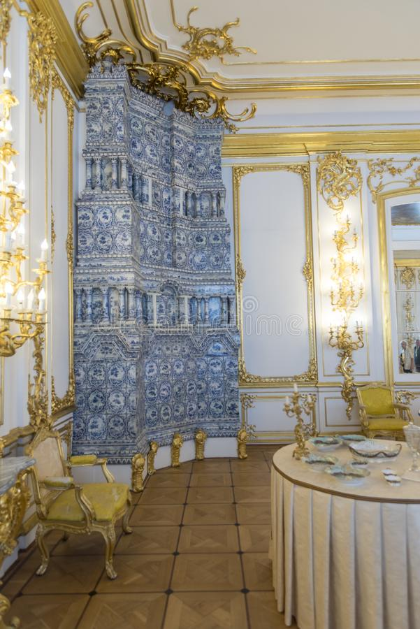 Delft tiled stove in Catherine Palace St Petersburg Russia. Baroque 18th-century palace with large grounds where Russian royal family spent their summers royalty free stock images