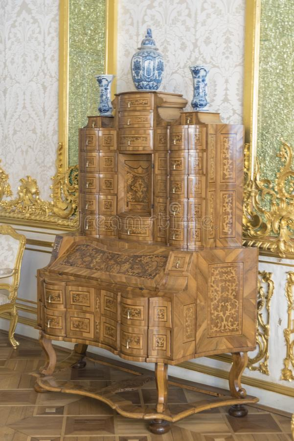 Desk in Catherine Palace St Petersburg Russia. Baroque 18th-century palace with large grounds where Russian royal family spent their summers.nSt. Petersburg is stock photo