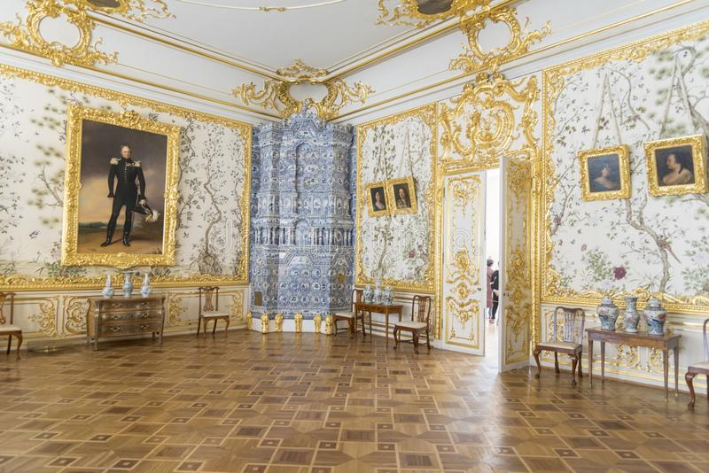 Waiting room in Catherine Palace St Petersburg Russia. Baroque 18th-century palace with large grounds where Russian royal family spent their summers stock image
