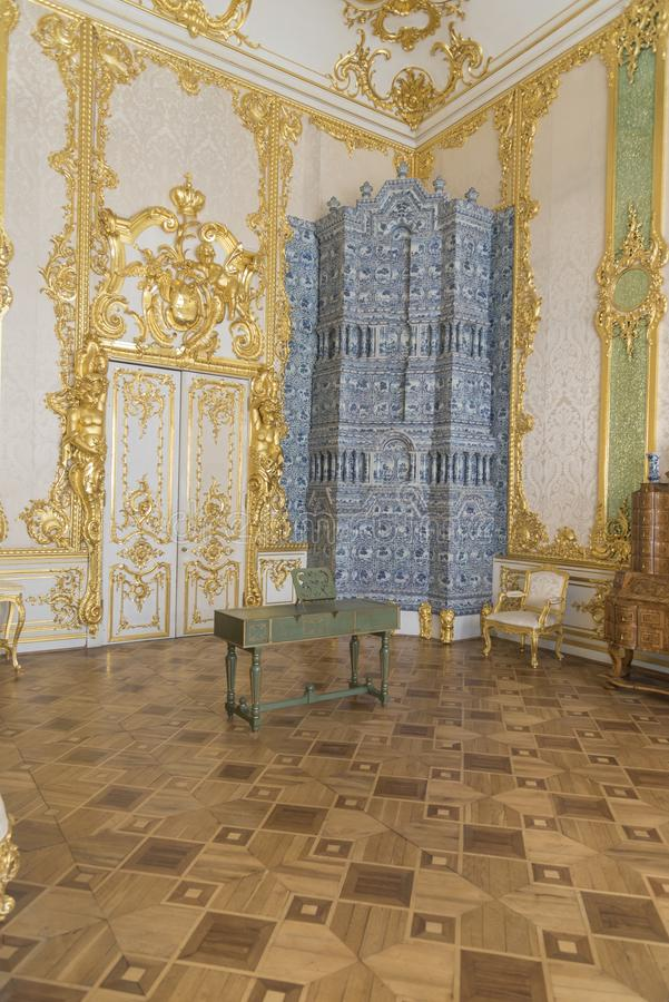 Music Room in Catherine Palace St Petersburg Russia. Baroque 18th-century palace with large grounds where Russian royal family spent their summers stock photography