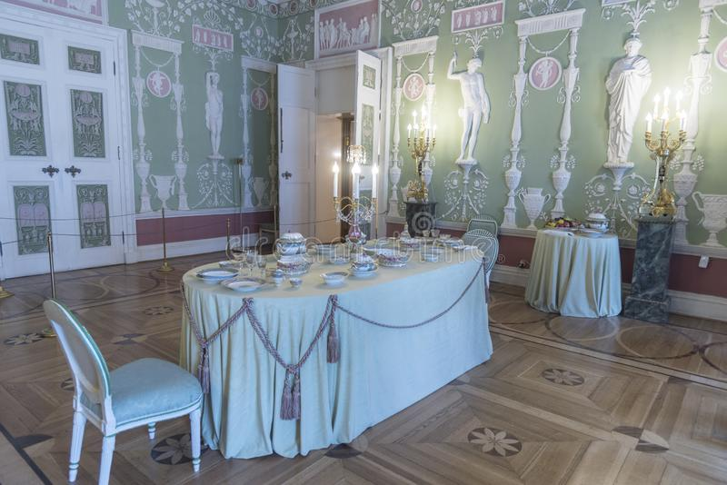 Dining Room in Catherine Palace St Petersburg Russia. Baroque 18th-century palace with large grounds where Russian royal family spent their summers.nSt stock image