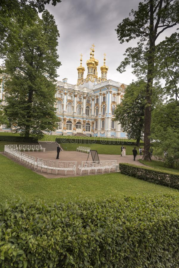 Rear of Catherine Palace St Petersburg Russia. Baroque 18th-century palace with large grounds where Russian royal family spent their summers royalty free stock images