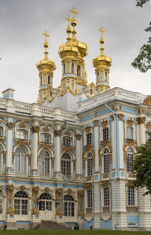 Rear of Catherine Palace St Petersburg Russia. Baroque 18th-century palace with large grounds where Russian royal family spent their summers royalty free stock photo