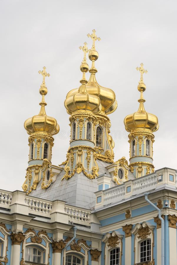 Chapel domes from the rear of Catherine Palace St Petersburg Russia. Baroque 18th-century palace with large grounds where Russian royal family spent their stock image