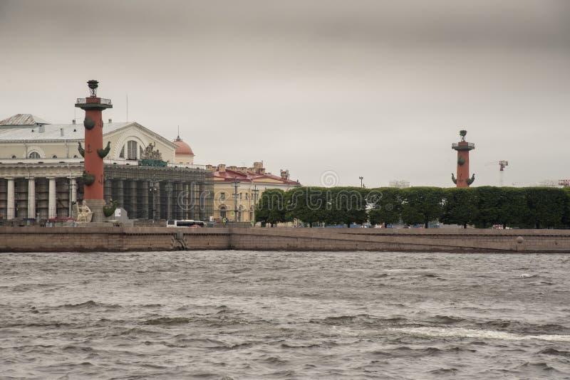 Rostral`naya Kolonna Rostral Columns on the bank of the River Neva royalty free stock image