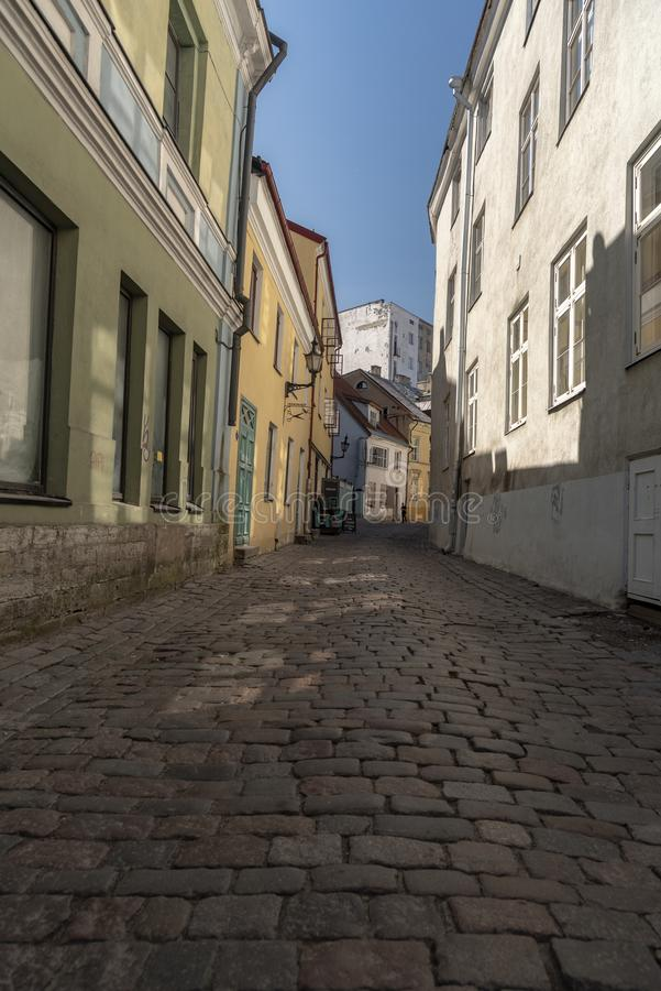 Cobbled street in Tallinn. Tallinn, Estonia's capital on the Baltic Sea, is the country's cultural hub. It retains its walled, cobblestoned Old royalty free stock photography