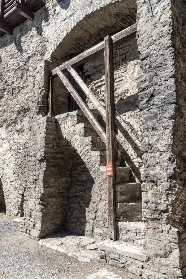 Old city wall stair Tallinn. Tallinn, Estonia's capital on the Baltic Sea, is the country's cultural hub. It retains its walled, cobblestoned Old royalty free stock image