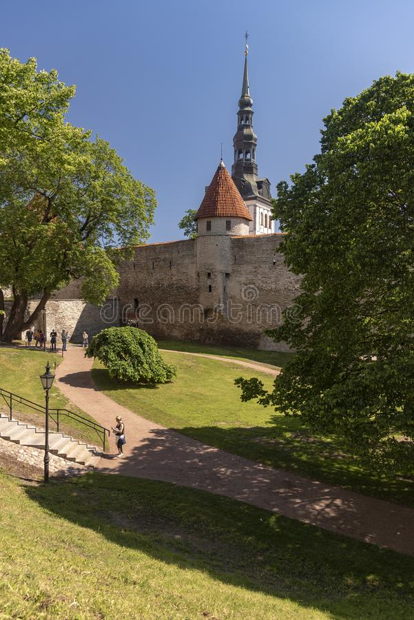 Old city wall Tallinn. Tallinn, Estonia's capital on the Baltic Sea, is the country's cultural hub. It retains its walled, cobblestoned Old Town stock images