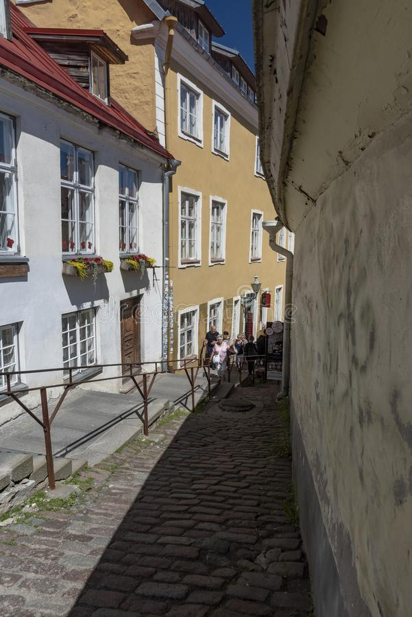 Looking down Short Leg Street Tallinn stock images