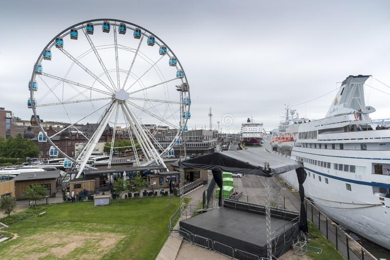 Skywheel Helsinki Finland. 40-m. observation wheel offering panoramic 360-degree views over the city skyline. Finland's southern capital, sits on a royalty free stock photo