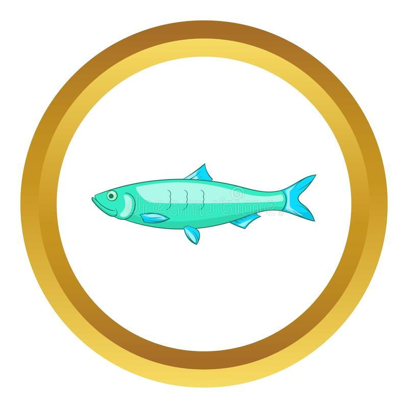 Baltic herring icon. In golden circle, cartoon style isolated on white background royalty free illustration