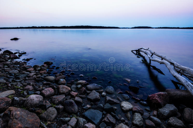 Baltic sea archipelago in sunrise royalty free stock images