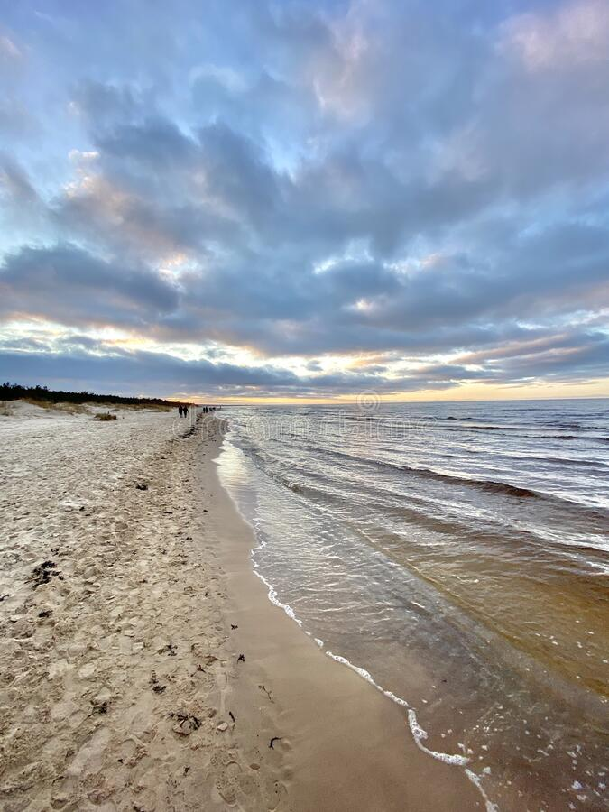 Baltic Sea autumn coast beach Bolderaja Riga Latvia stock photography