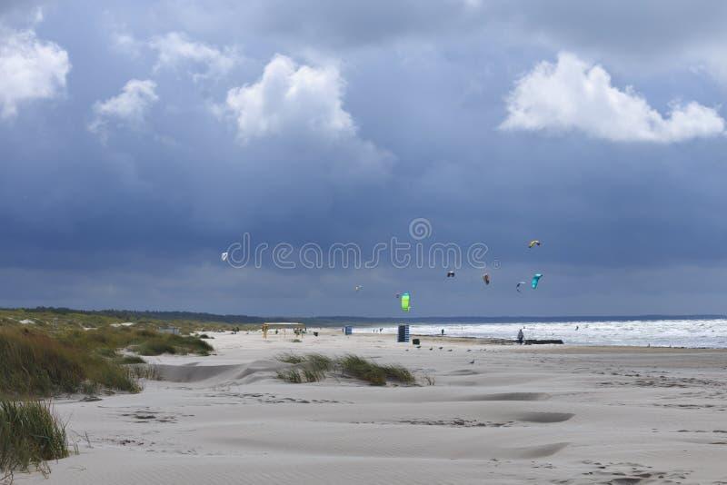 Baltic Sea Beach. And kiteboarding in Liepaja, Latvia, at late summer stock photo