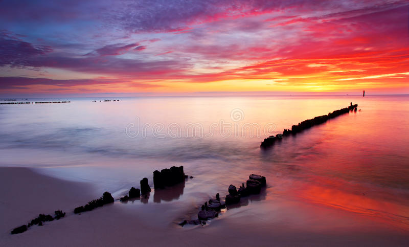 Download Baltic Sea At Beautiful Sunrise In Poland Beach. Stock Image - Image: 25121687