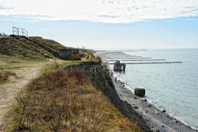 Baltic sea cliff of darss peninsula in germany. old world war bunkers in the sea.  royalty free stock photo