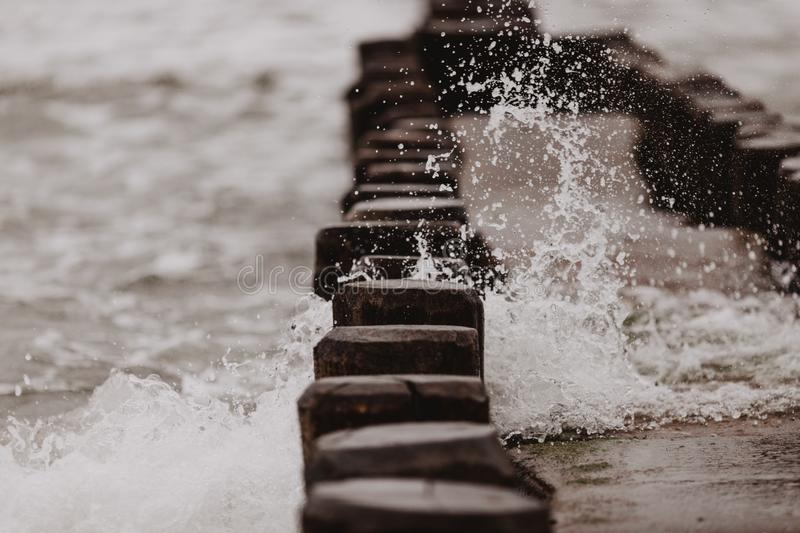Baltic sea costline strong storm with overcast clouds royalty free stock images