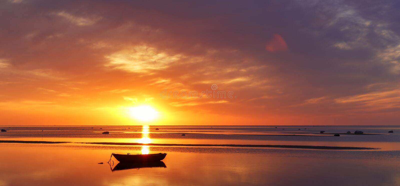 Baltic sea - early morning sunrise over the sea. stock photos