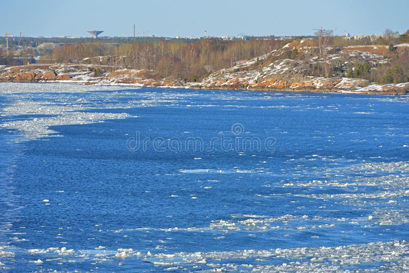 Baltic Sea with floating ice near Helsinki coast. Suomi royalty free stock photography