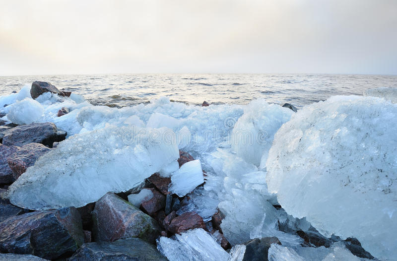 Baltic sea with ice boulders