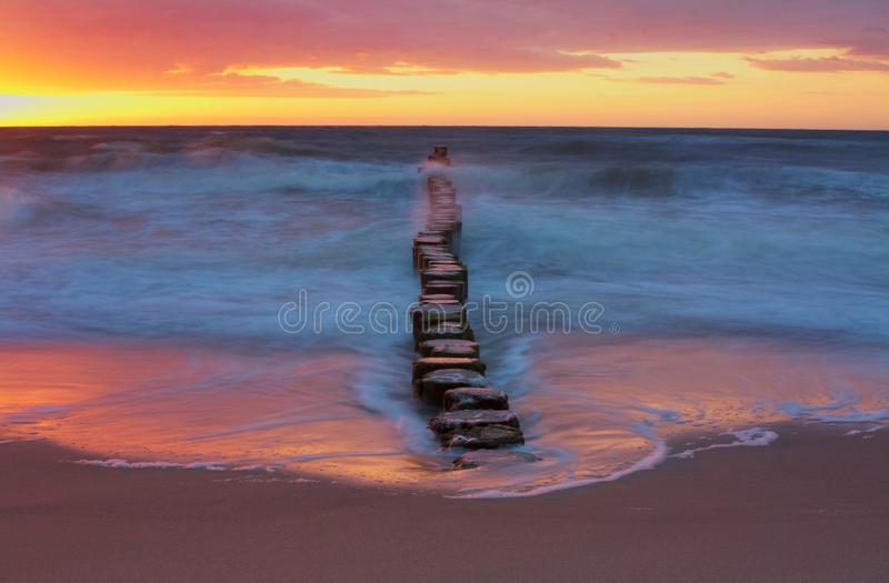 Baltic Sea. Long exposure picture of breakwater on Baltic Sea shoreline. Poland stock image