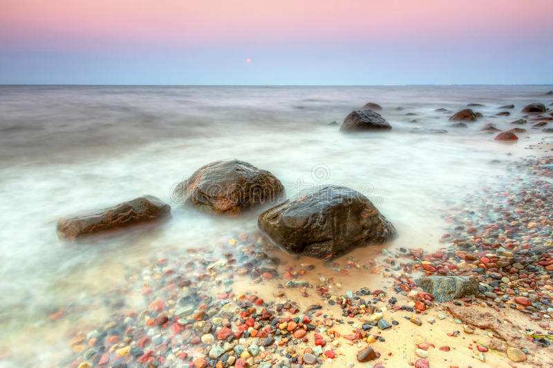Baltic sea scenery in Gdynia Orlowo at sunset stock photo