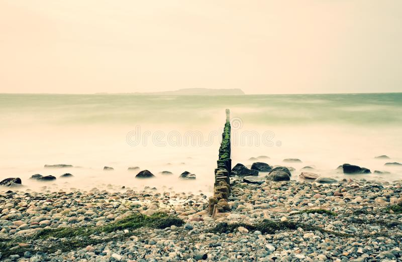 Baltic Sea shore in strong wind. Breakwater built of wooden logs stock photos