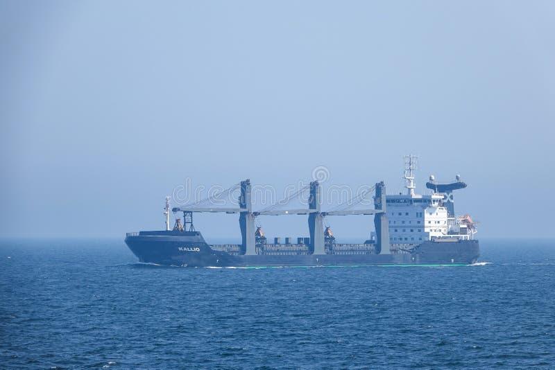 M/S Kallio, Cargo ship. Self-discharging, ice classed bulk carrier. Baltic Sea, Sweden - August 1, 2018: M/S Kallio, Cargo ship. Self-discharging, ice classed royalty free stock photos